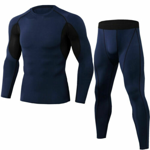 Mens Compression Shirt Underwear Base layer Long Sleeve Quick-dry Tops Pants Set