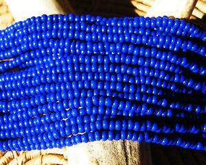 Czech Glass Seed Beads Size 11/0 Opaque DEEP ROYAL BLUE- One Full Hank 33060
