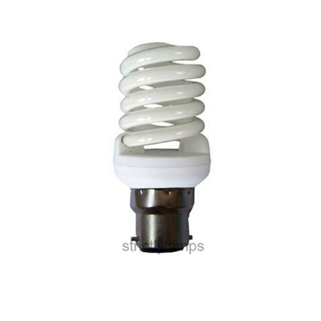 Spiral B22 Light Bulb Energy Saving 20W 100W Equivalent Warm White Pack Of 2 New