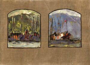 11Russischer-Realist-Expressionist-Ol-Leinwand-034-Schiffe-034-81-x-60-cm