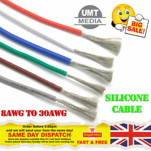 Flexible-Silicone-Cable-Wire-8-10-12-14-16-18-20-22-24-28-30-AWG-Various-Colours