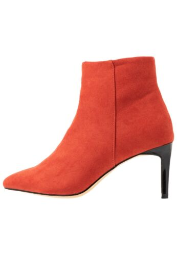 Oasis Luna Pointed Soft Orange Suede High Heels Ankle Boots RRP £45