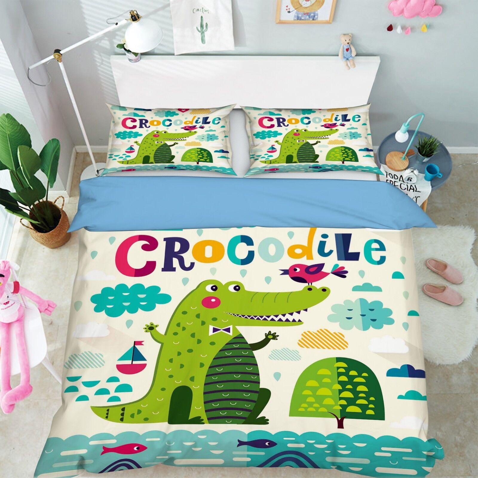 3D Süßes Krokodil 2 Bett Kissenbezüge steppen Duvet Decken Set Single Königin DE