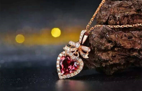 Red Ruby 1CT Carat 14K Solid Rose Gold Over Gorgeous Heart Pendant Necklace
