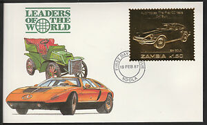 Zambia (381) 1987 Classic Cars - DATSUN in 22k gold foil on First day Cover