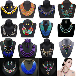 Fashion-Bohemia-Women-Jewelry-Pendant-Choker-Crystal-Chunky-Statement-Necklace