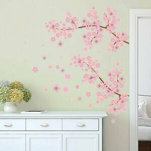 Wandtattoo Mädchen Baum Ast pink rosa Blumen Sticker Kinderzimmer ...
