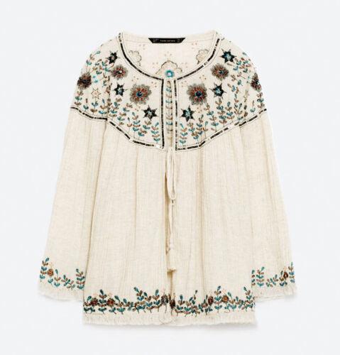 Lin Zara Veste Kimono Paillettes Blouse Blouse Veste Broderie Lin Linen wCCqOpXA