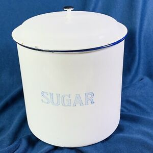 Kockums-Sweden-Vintage-Enamel-Sugar-Storage-Tin-White-Blue-Trim-17-x-20-cm