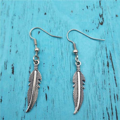 Cadeau Boucles d/'oreilles plume argent handmade Ear Stud Mode Charme Bijoux Pendentifs