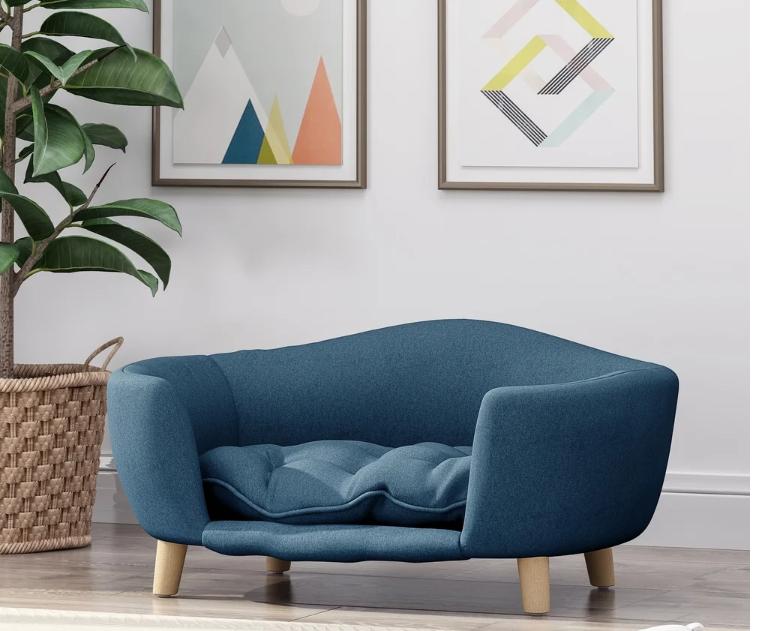 SM Dog Cat Sofa Bed Pet Furniture Couch Plush Cushion Raised Portable Washable