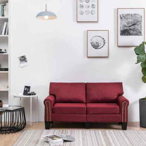 vidaXL Sofa 2-Sitzer Weinrot Stoff Loungesofa Stoffsofa Sitzmöbel Polstersofa