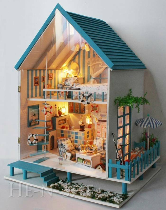 Do It Yourself Yourself Yourself en Bois Maison de Poupée Miniature avec Feu RoFemmetique Égéen Mer ac9830