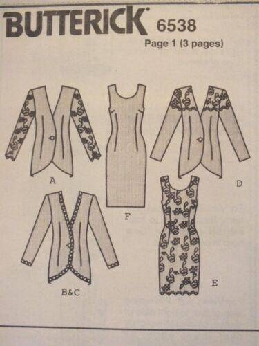 Glam BUTTERICK 6538 MS//Wmns Jacket /& Dress PATTERN 6-8-10//12-14-16//18-20-22 UC
