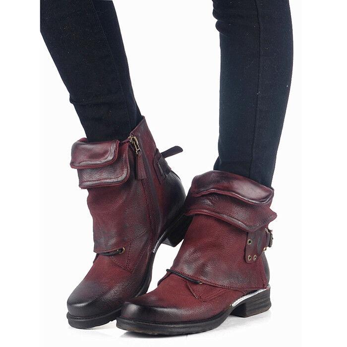Fashion donna Buckle Round Toe Ankle Retro Western Cowboy Punk stivali scarpe Sz