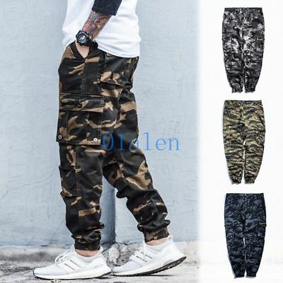 Mens Camo Loose Baggy Trousers Cargo Overalls Leisure Hip-hop Harem Pants Casual