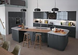 Image Is Loading New Vivo High Gloss Anthracite Replacement Kitchen Doors