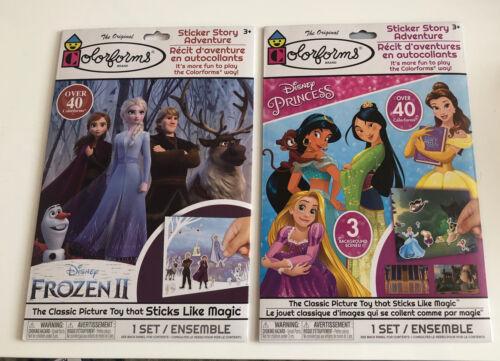 LOT OF 2 Colorforms  Brand New FROZEN II /& DISNEY PRINCESSES Sticker Stories
