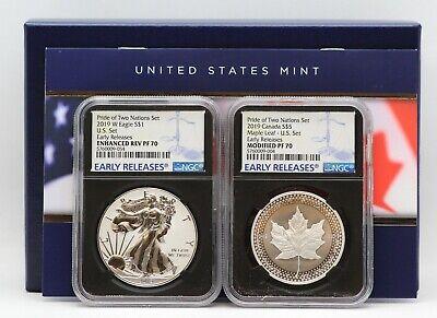 2019 NGC PF70 ER PRIDE 2 NATIONS SET Reverse Silver Eagle  $5 Maple Leaf
