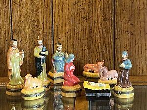Vintage, 9 Piece Trinket Box Style Nativity & Epiphany Set, Beautiful Colors