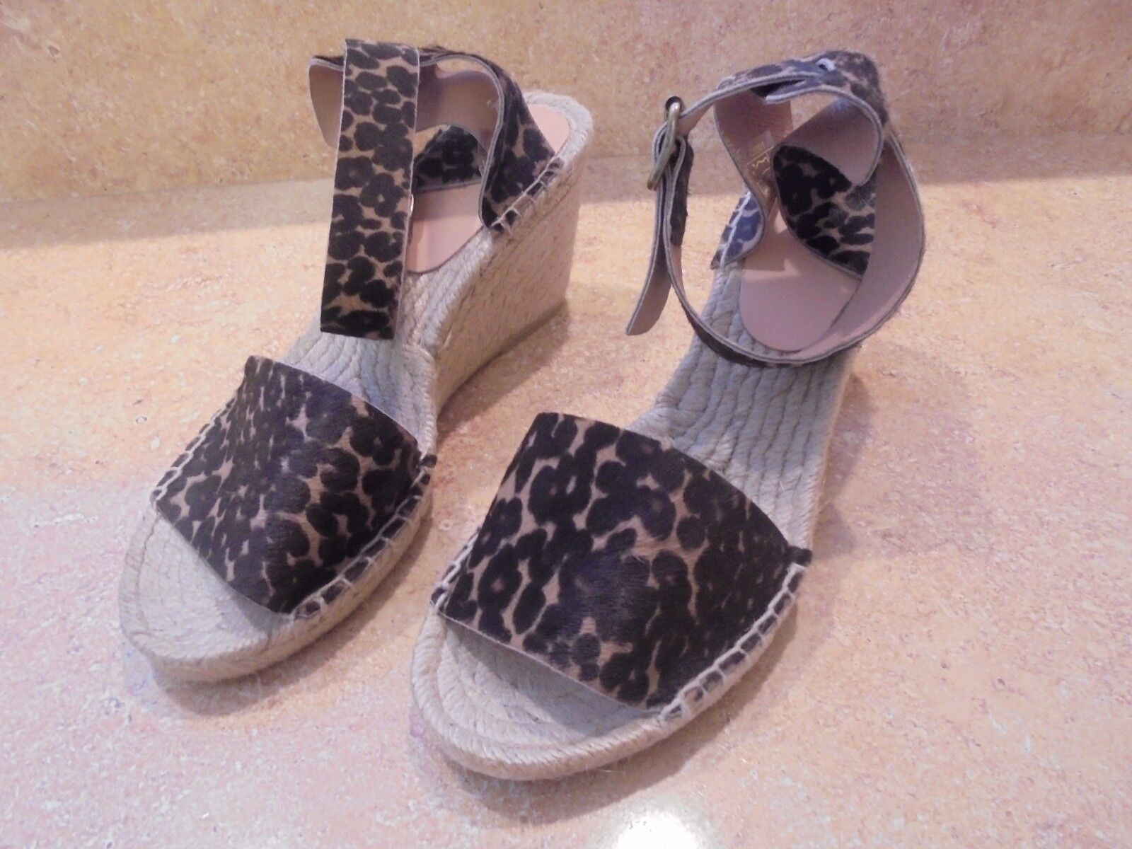 J CREW  LEOPARS PRINT CALF HAIR ESPDRILLE WEDGE ANKLE STRAP SANDALS 9 Schuhe
