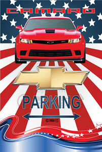 Parking-Sign-Chevy-Red-Camaro-2013-American-Flag-Look