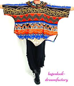 MYO-Lagenlook A-Linie Tunika Pullover Zipfel Carmenkragen 44 46 48 50 52 54 56