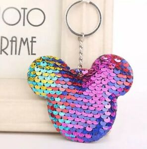 Disney-Mickey-Mouse-Rainbow-Sequin-Keyring-Luggage-Finder-Gift-Holiday-Bag-Tag