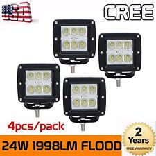 4X 24W 3Inch CREE Flood LED Pod Lights For Truck Jeep ATV 4WD Offroad Suv Trucks