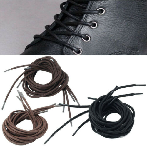 """2 Pairs 27/""""//39/""""//47/"""" Shoes Boot Laces Round Shape Cotton Waxed Bootlace Shoelaces"""