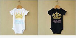 Personnalisé Prince Princesse Baby Body Grow Vest Girl Baptême Enceinte-afficher Le Titre D'origine Une Gamme ComplèTe De SpéCifications