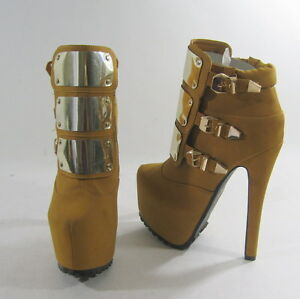 Marron-Dorado-16-5cm-Tacon-Alto-6-3cm-Platform-Black-Suela-Sexy-Botines-Talla-7