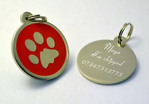Diligent Métal Rond Rouge Patte Chien Étiquettes Identité Animaux Disques Dogtag Ou Chat