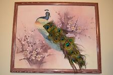 LENA LIU Peacock Embroidered Needlepoint REAL Feather Asian FRAMED VTG 80s ART