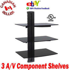 Triple-3-Components-DVD-wall-mount-shelves-floating-Cable-PS3-PS4-3-tiers