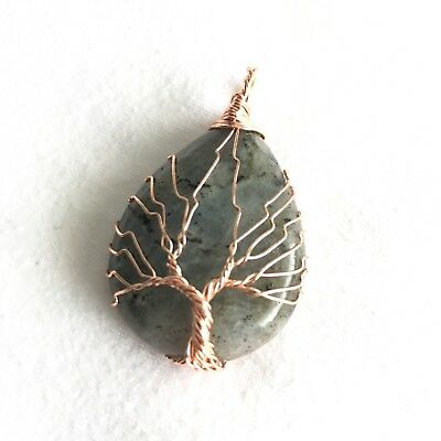 Labradorite Gemstone Copper Wire Wrap Tree Of Life Handmade