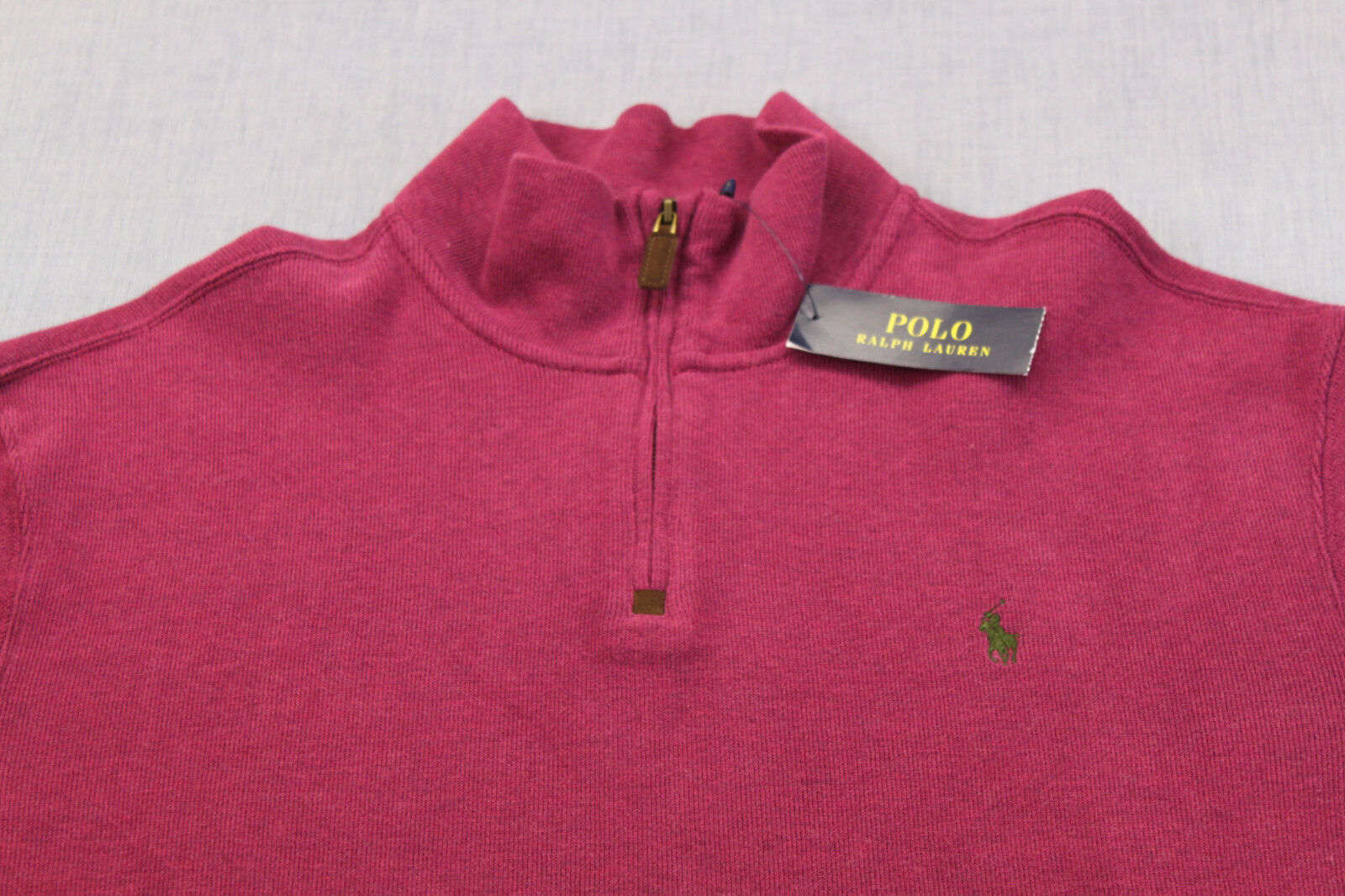 RALPH LAUREN POLO Men PLUM PURPLE PONY Leather 1 4 Zip SWEATER SWEATSHIRT NWT XS