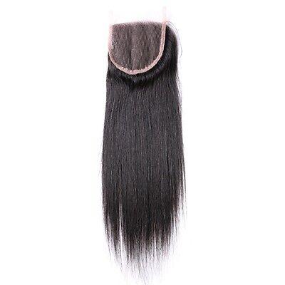 100% Virgin Peruvian Straight Human hair Top Lace closure  4x4 AAAAAAA Grade