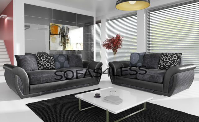 **NEW SHANNON LEATHER & FABRIC 3+2 SEATER SOFA + ARMCHAIR IN BLACK GREY BROWN **