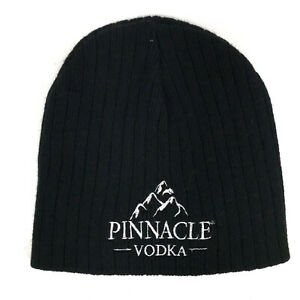 Pinnacle Vodka winter beanie cap hat black and white lettering ribbed hbw12