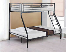 Black Triple Twin Bunk Bed Children Metal Sleeper Kids Frame W Budget Mattress