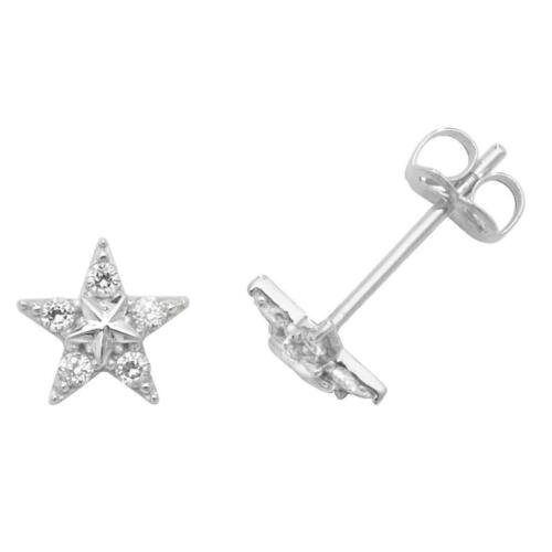 Pair of 9ct White Gold 4mm Star /& Cubic Zirconia Stud Earrings Weight 0.45g
