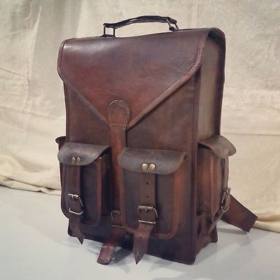 Men/'s genuine leather vintage laptop backpack rucksack messenger bag satchel