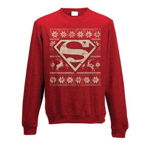 Medium adult/'s Superman pull-Crewneck Sweatshirt Fair Isle DC Comics Logo
