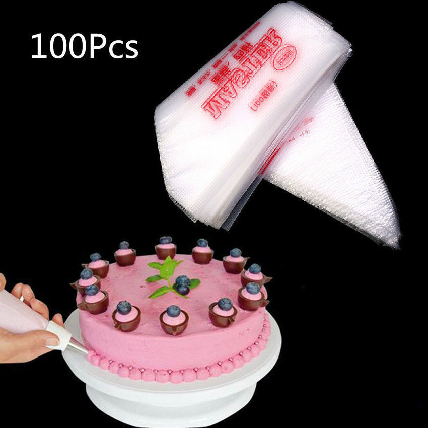 100PCS Disposable Piping Bag Icing Fondant Cake Cream Decorating Pastry Tip Tool