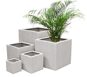 White Poly Terrazzo Cube Planter 3 Sizes Indoor Outdoor