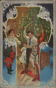 Christmas-Santa-Claus-Border-Children-Play-New-Toys-Silver-Border-Postcard