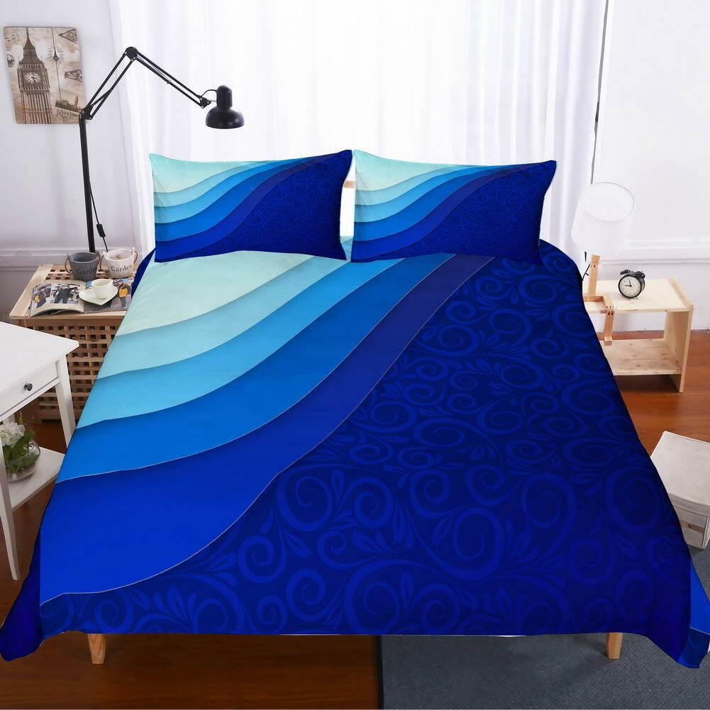 Dark blu Smooth 3D Quilt Duvet Doona Cover Set Single Double Queen King Print