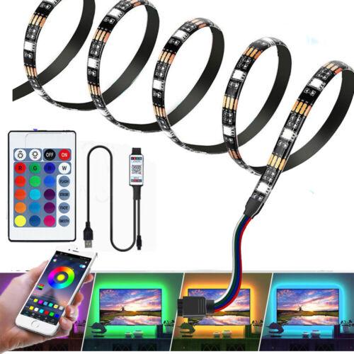 5V USB LED Strip Lights 5050 SMD RGB Colour Changing Bluetooth For TV PC gamer