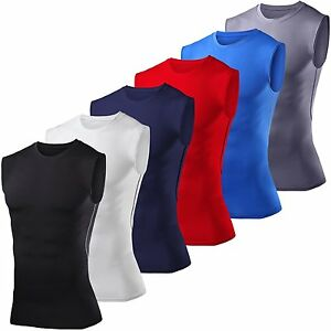 Mens Compression Base Layer Sleeveless Vest Workout Tops Sports Running T-Shirt